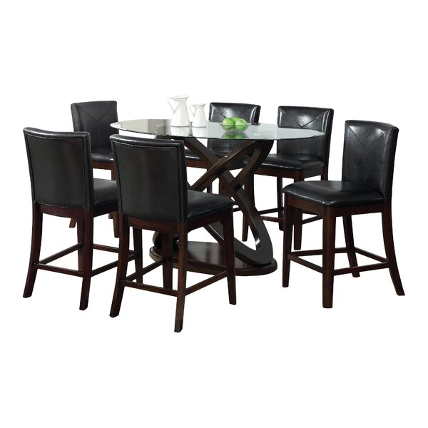 Ollivander 7 Piece Counter Height Solid Wood Dining Set By Hokku Designs