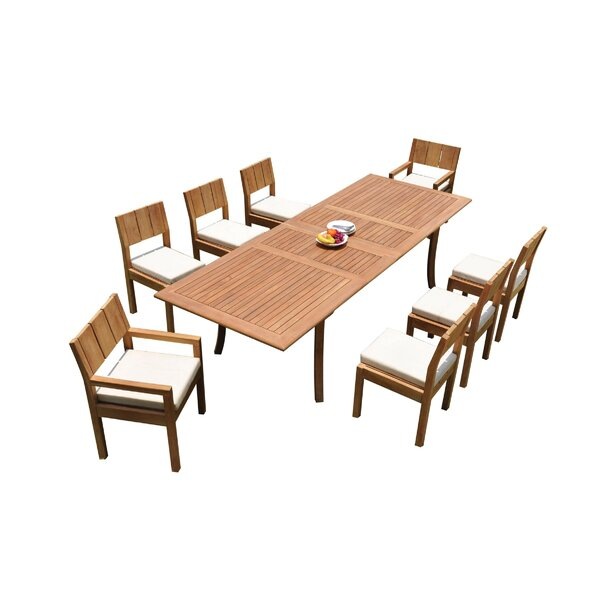 Wilson 9 Piece Teak Dining Set by Bayou Breeze