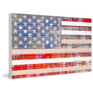 'American Dream' by Parvez Taj Painting Print on White Wood by Parvez Taj