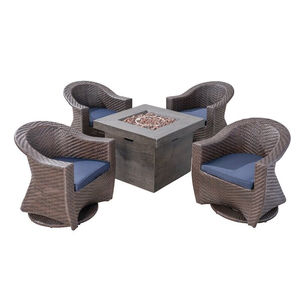 Renee Patio 5 Piece Conversation Set with Cushions by Longshore Tides