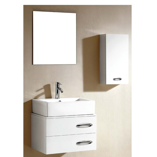 Brizendine 23 Wall-Mounted Single Bathroom Vanity Set with Mirror by Wade Logan