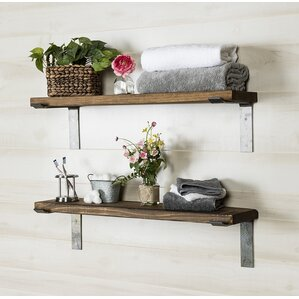 2 piece industrial accent shelves set of 2