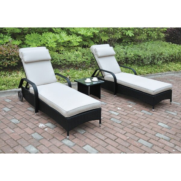 Sun Lounger Set with Cushions and Table by JB Patio JB Patio