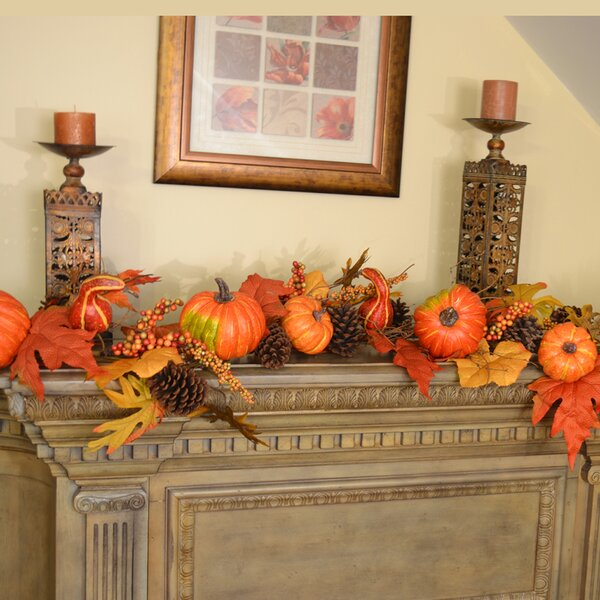Deluxe Pumpkin Berry Fall Leaf Garland by Floral Home Decor