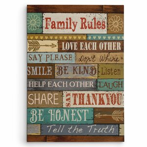 'Family Rules' by Conrad Knutsen Textual Art on Wrapped Canvas by Wexford Home