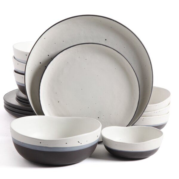 Broadview Double Bowl 16 Piece Dinnerware Set, Service for 4 by Greyleigh