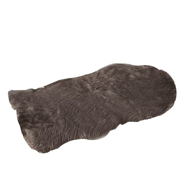 Faux Fur Brown Area Rug by De Moocci