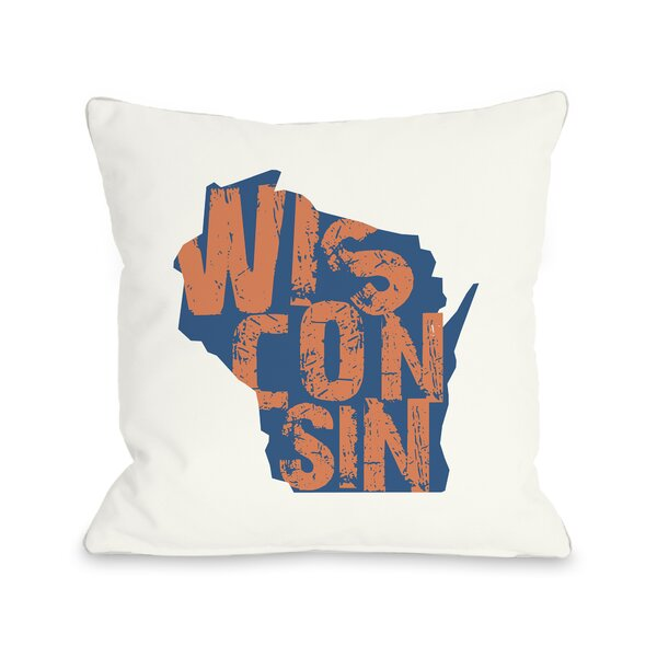 Wisconsin State Throw Pillow by One Bella Casa