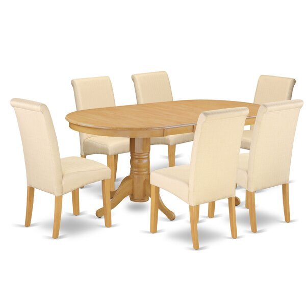 New Design Paras Oval Room Table 7 Piece Extendable Solid Wood Dining Set 2019 Coupon
