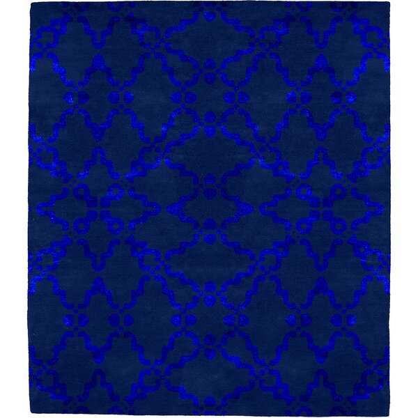 Ginnia Patterned J Signature Hand-Tufted Wool Blue Area Rug