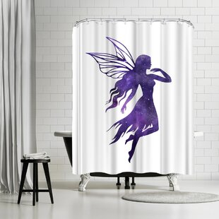 Find a Peach & Gold Cosmic Fairy Shower Curtain ByEast Urban Home