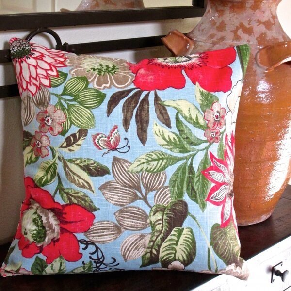 Butterfly Garden Flowers in Modern Cottage Floral Indoor Pillow Cover by Artisan Pillows