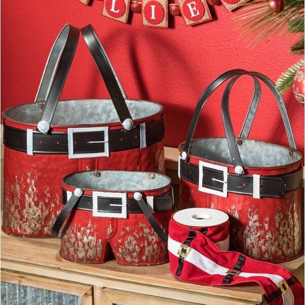 Santa Pants 3 Piece Pot Planter Set by The Holiday Aisle