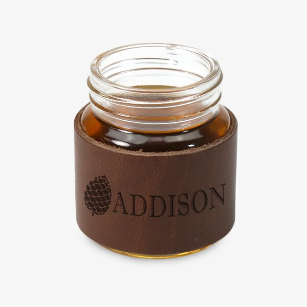 Personalized Leather 2 oz. Mason jar by Monogramonline Inc.