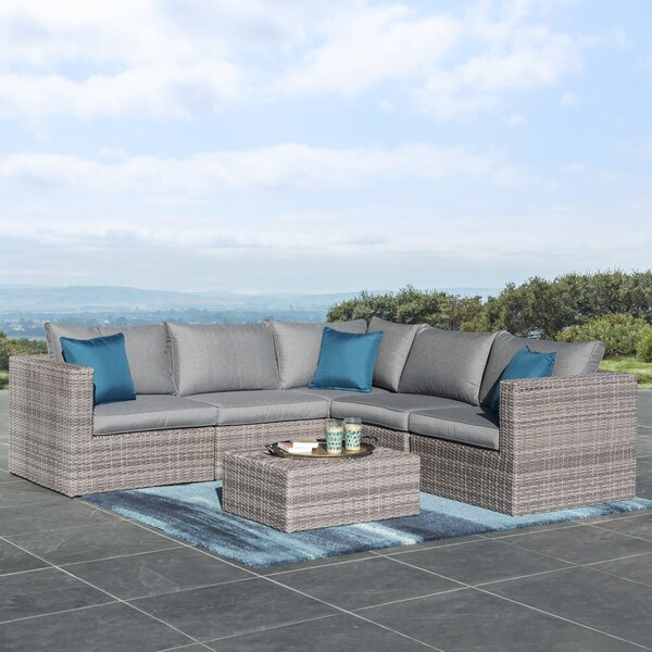 Midland 6 Piece Rattan Sectional Seating Group with Cushions by Sol 72 Outdoor