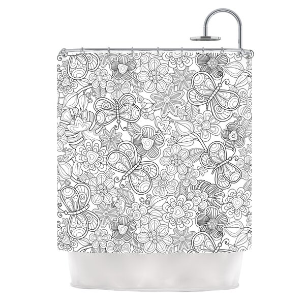 My Butterflies and Flowers by Julia Grifol Shower Curtain by East Urban Home