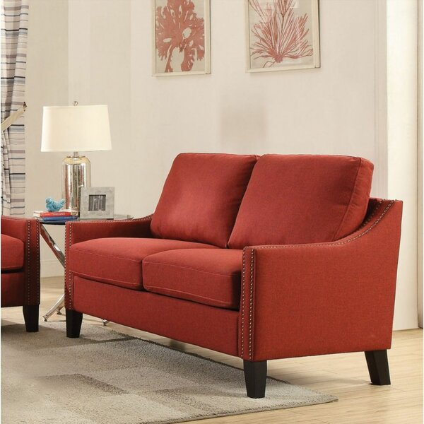 Review Loveseat, Red Linen