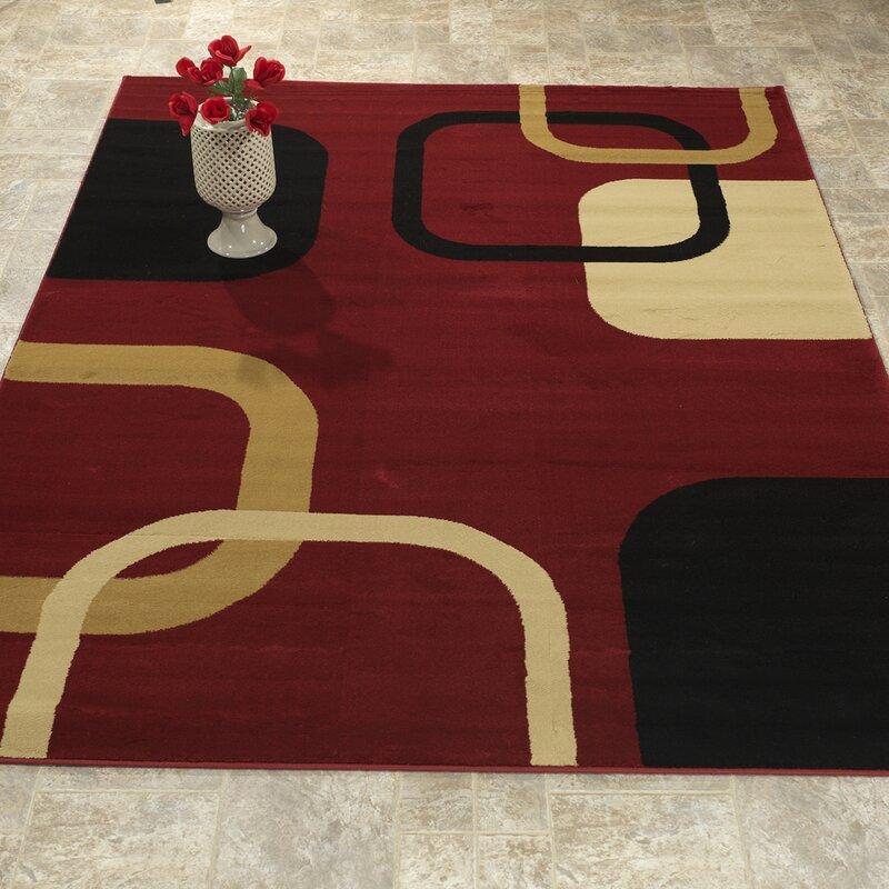 Orren Ellis Delaney Modern Contemporary Burgundy Black Area Rug