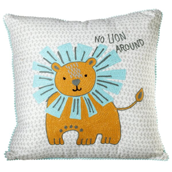 Perry Embroidered Lion Cotton Throw Pillow by Viv + Rae