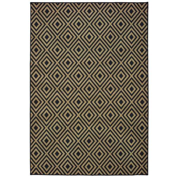 Lipson Diamond Lattice Black/Beige Indoor/Outdoor Area Rug by Wrought Studio