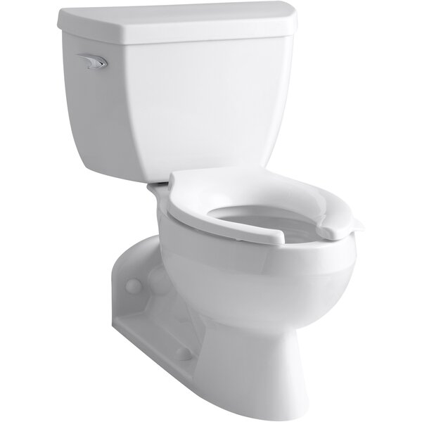 Barrington™ Two-Piece Elongated 1.0 GPF Toilet with Pressure Lite® Flushing Technology, Left-Hand Trip Lever and Antimicrobial Finish, Less Seat by Kohler