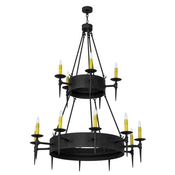 Bazan 15 - Light Candle Style Wagon Wheel Chandelier By Fleur De Lis Living