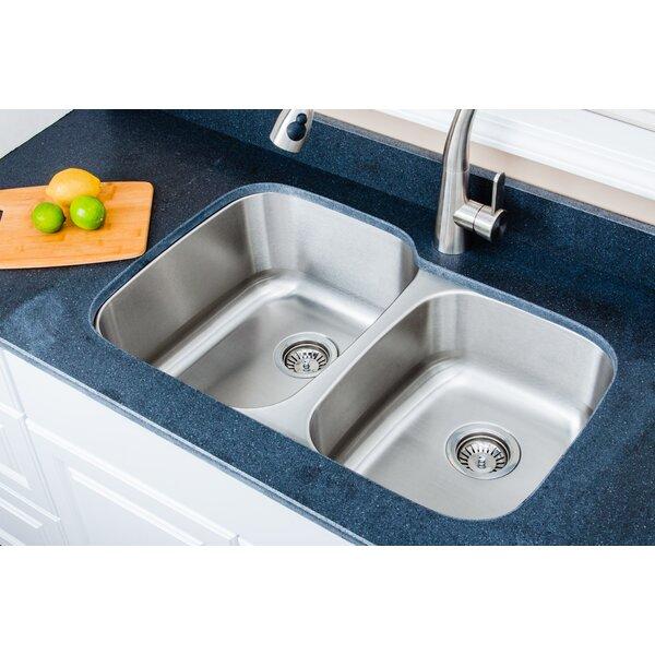 Craftsmen Series 32 L x 21 W 60/40 Double Undermount Kitchen Sink by Wells Sinkware