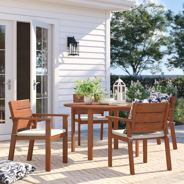 Brighton 5 Piece Eucalyptus Dining Set with Cushions by Sol 72 Outdoor
