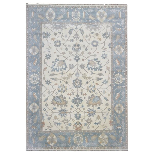 One-of-a-Kind Crampton Oushak Hand-Woven Wool Beige/Blue Area Rug by Isabelline