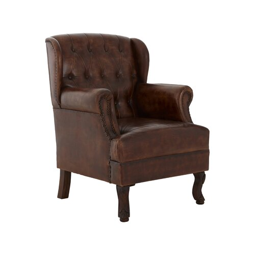 Leafwood Leather Wingback Chair Rosalind Wheeler