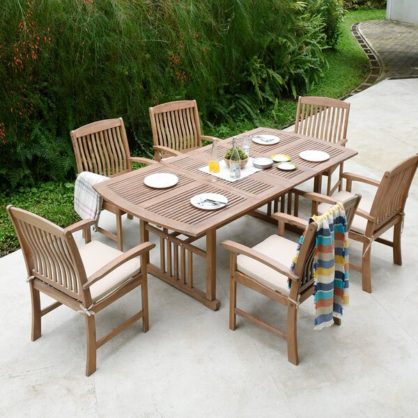 Corpuz 7 Piece Teak Dining Set with Cushions by Gracie Oaks