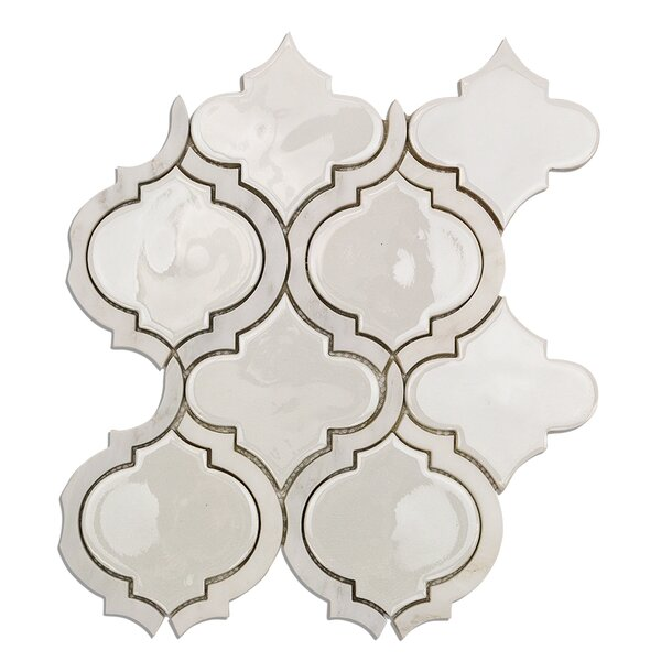 Oracle Random Sized Mixed Material Mosaic Tile in Glacier White by Splashback Tile