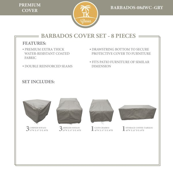 Barbados 9 Piece Water Resistant Patio Sofa Cover Set by TK Classics