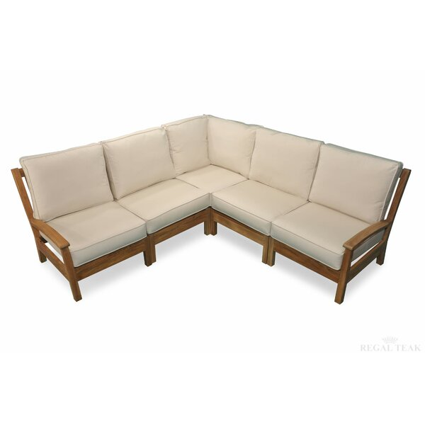 Pentwater Teak Patio Sectional with Sunbrella Cushions by Gracie Oaks