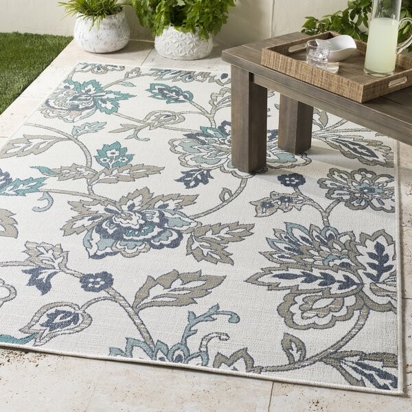 Amherst Floral Power Loom Charcoal/Aqua/Taupe Rug