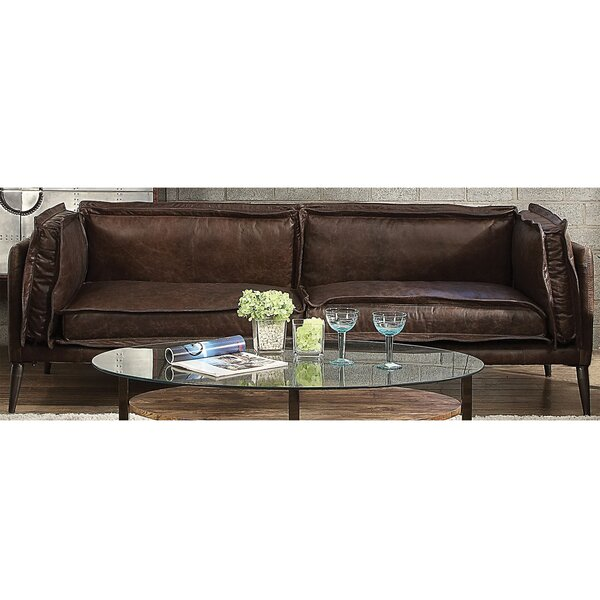 New High-quality Eilidh Leather Sofa by 17 Stories by 17 Stories