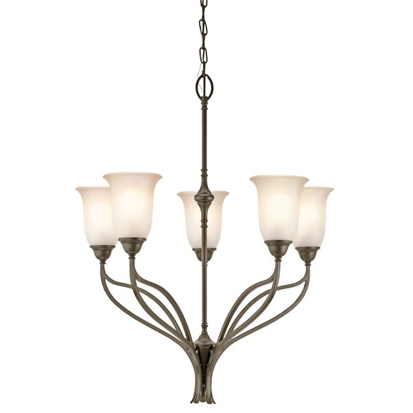 Fulford 5-Light Shaded Wagon Wheel Chandelier by Charlton Home Charlton Home