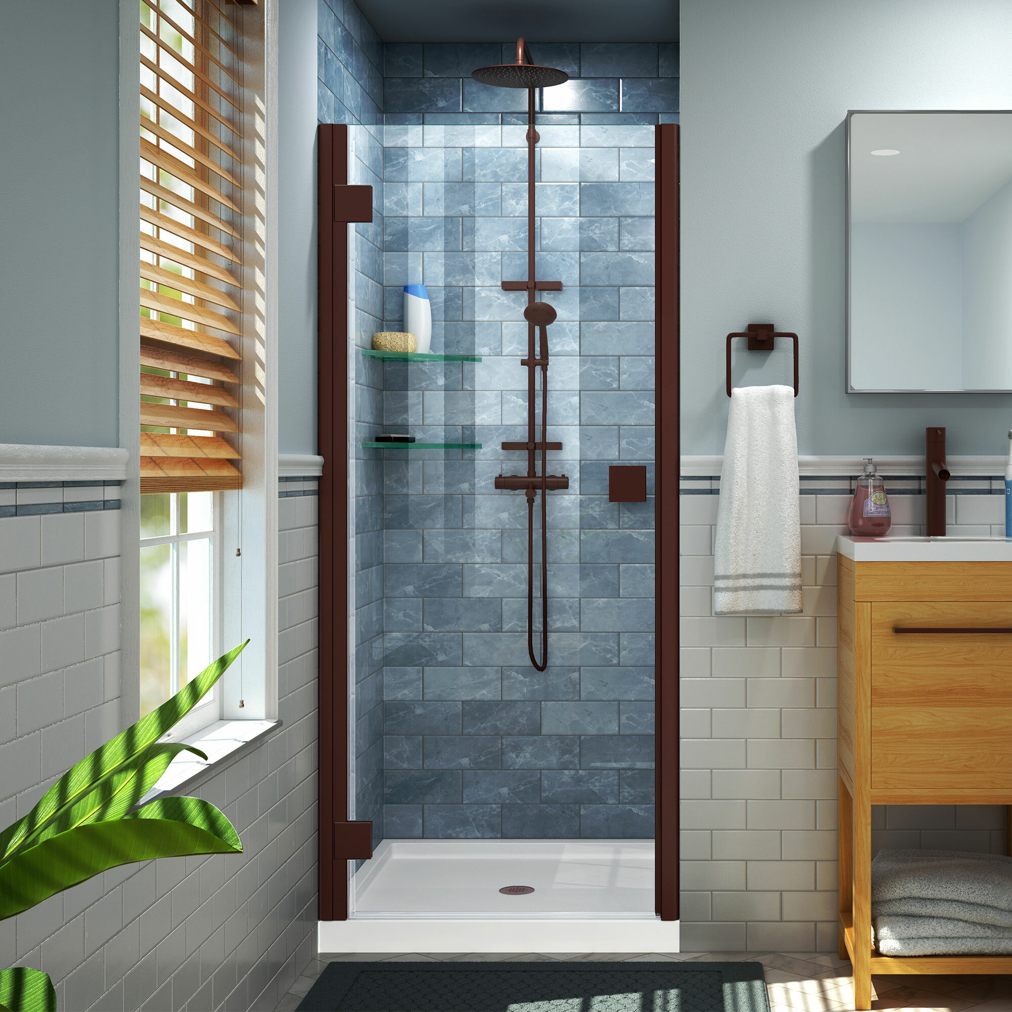 Lumen 41 X 72 Hinged Semi Frameless Shower Door