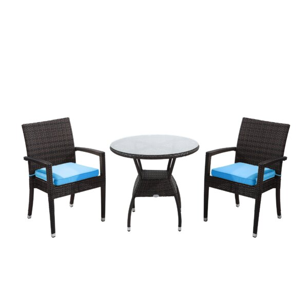 Brighton 3 Piece Bistro Set with Cushion by Rattan Outdoor Furniture