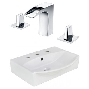 Ceramic Rectangular Bathroom Sink with Faucet and Overflow ByAmerican Imaginations