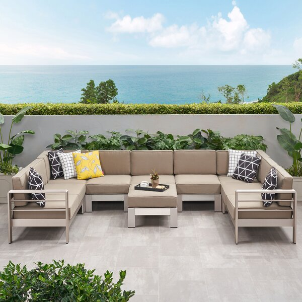 Destinee Outdoor 8 Piece Sectional Seating Group with Cushions by Orren Ellis