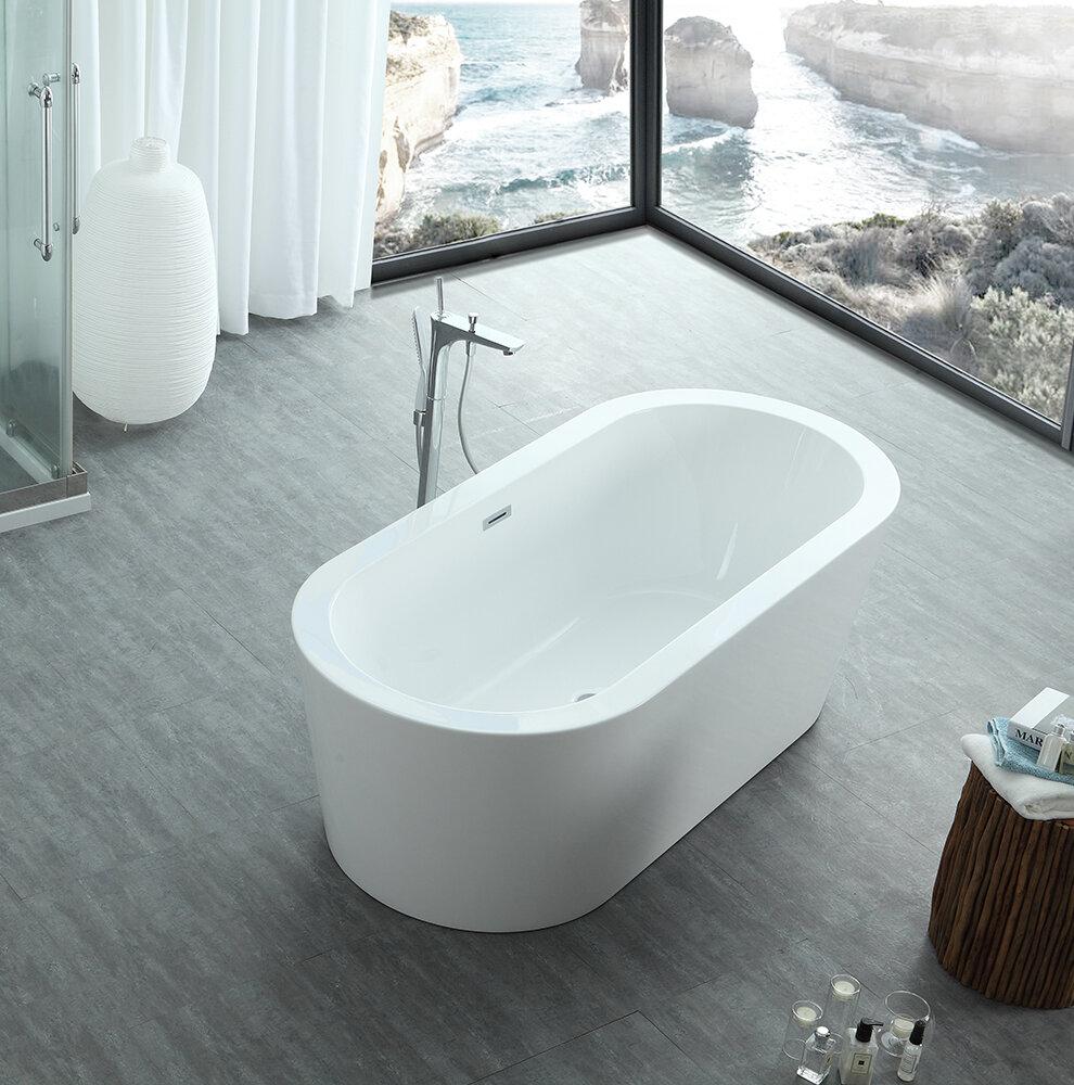 Eisen Home Dionysus Freestanding Soaking Bathtub | Wayfair
