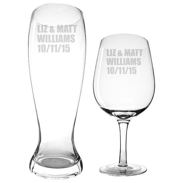 Personalized 2 Piece Wine / Pilsner Glass Set by Cathys Concepts