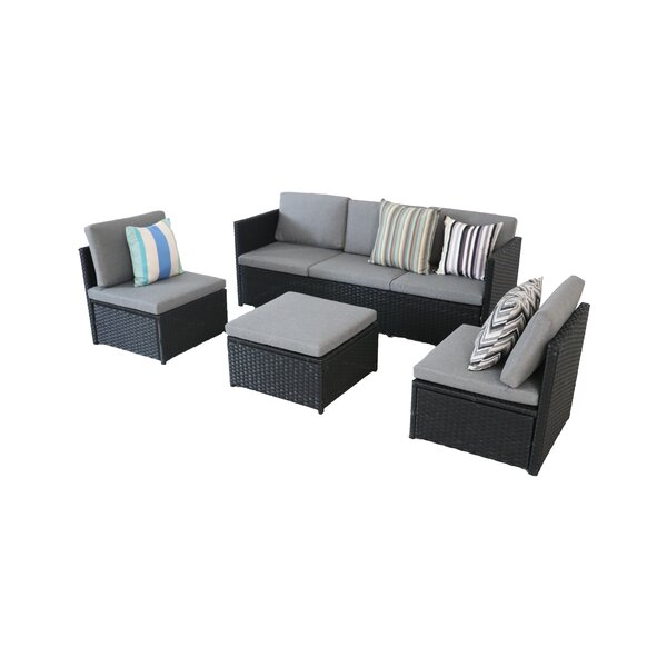 Scenery Rattan Sofa Seating Group with Cushions by Ebern Designs