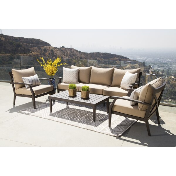 Brooklet 4 Piece Sunbrella Conversation Set with Cushions by Fleur De Lis Living