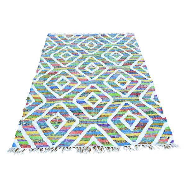 Flat Weave Kilim Hand-Knotted White/Green Area Rug by Bungalow Rose