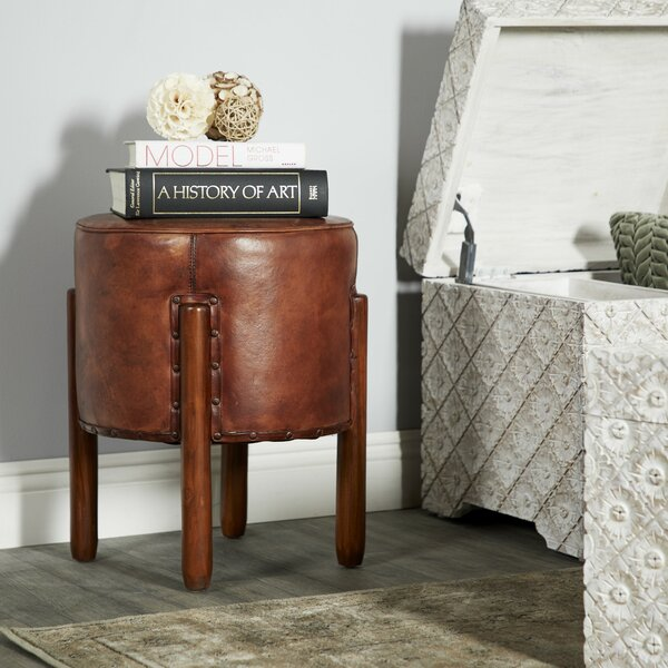 Richart Round Upholstered Leather Ottoman by Millwood Pines