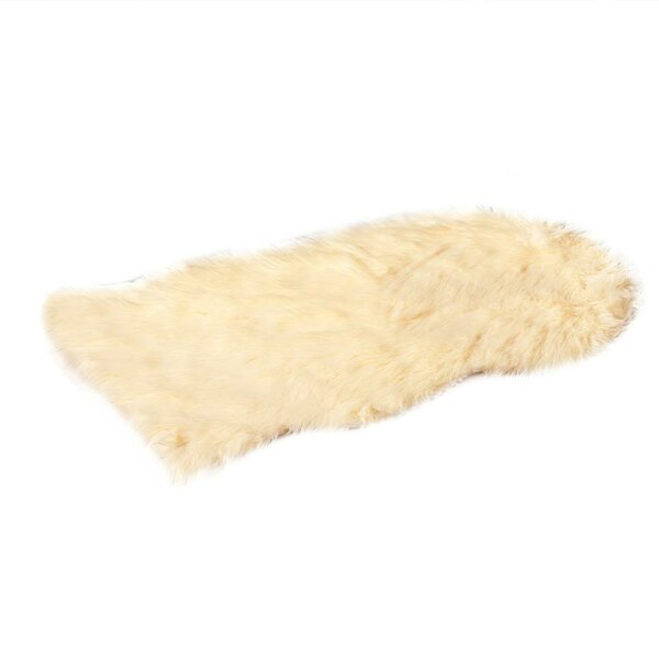 Faux Fur Beige Area Rug by De Moocci