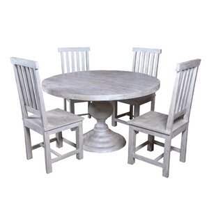 Jone Round Table 5 Piece Solid Wood Dining Set By Bloomsbury Market