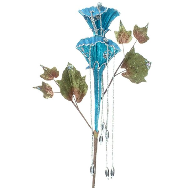 Glittered Trumpet Flower Christmas Spray Branch by The Holiday Aisle
